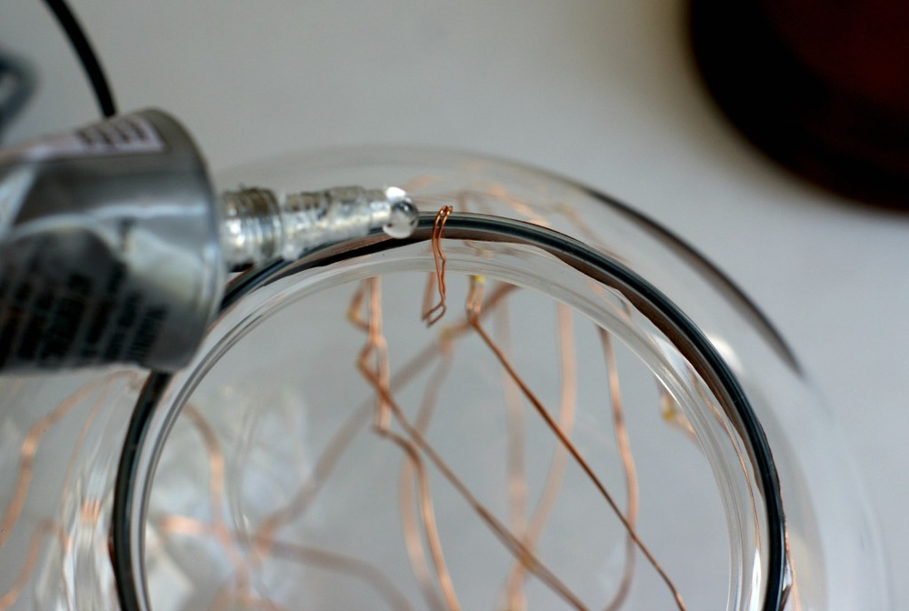 DIY illuminated copper globe copper string lights