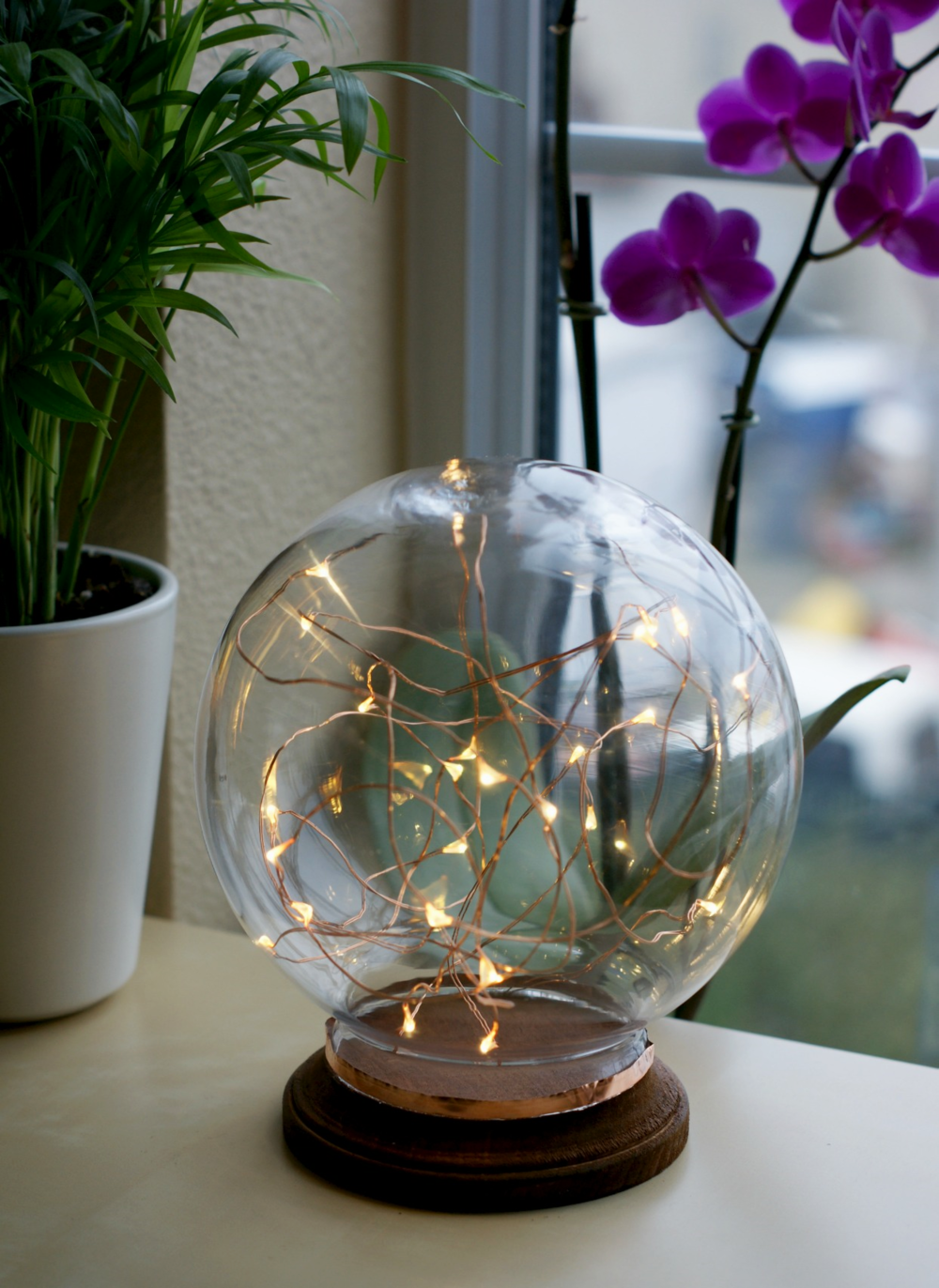 DIY illuminated copper globe inspired by Mid Century Modern designs