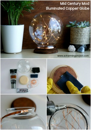 Mid Century Modern Inspired Illuminated Copper Globe!
