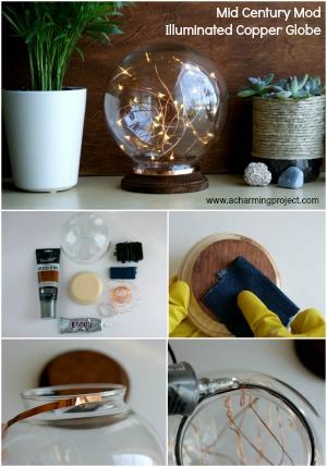 Mid Century Modern Inspired Illuminated Copper Globe!