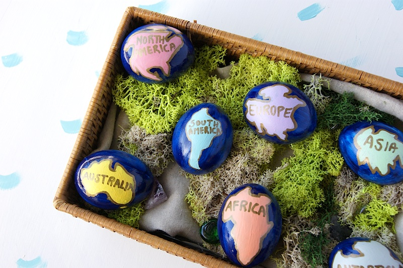 DIY Hand Painted Easter Eggs Inspired by UNICEF all 7 Continents