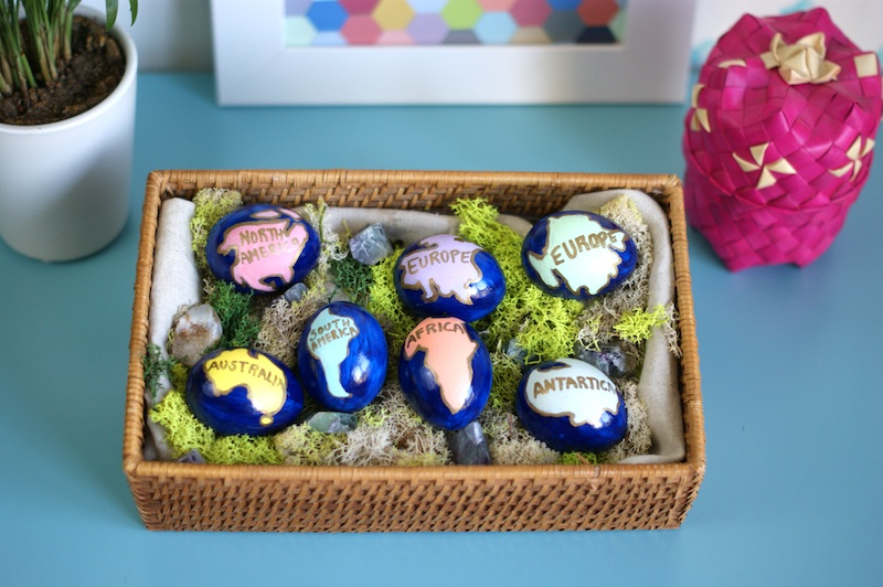 DIY Hand Painted Easter Eggs Inspired by UNICEF All 7 Continent represented