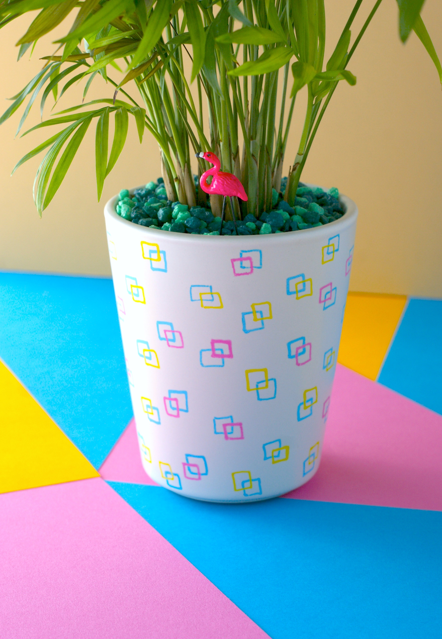 Colorful Retro DIY Planter just using markers