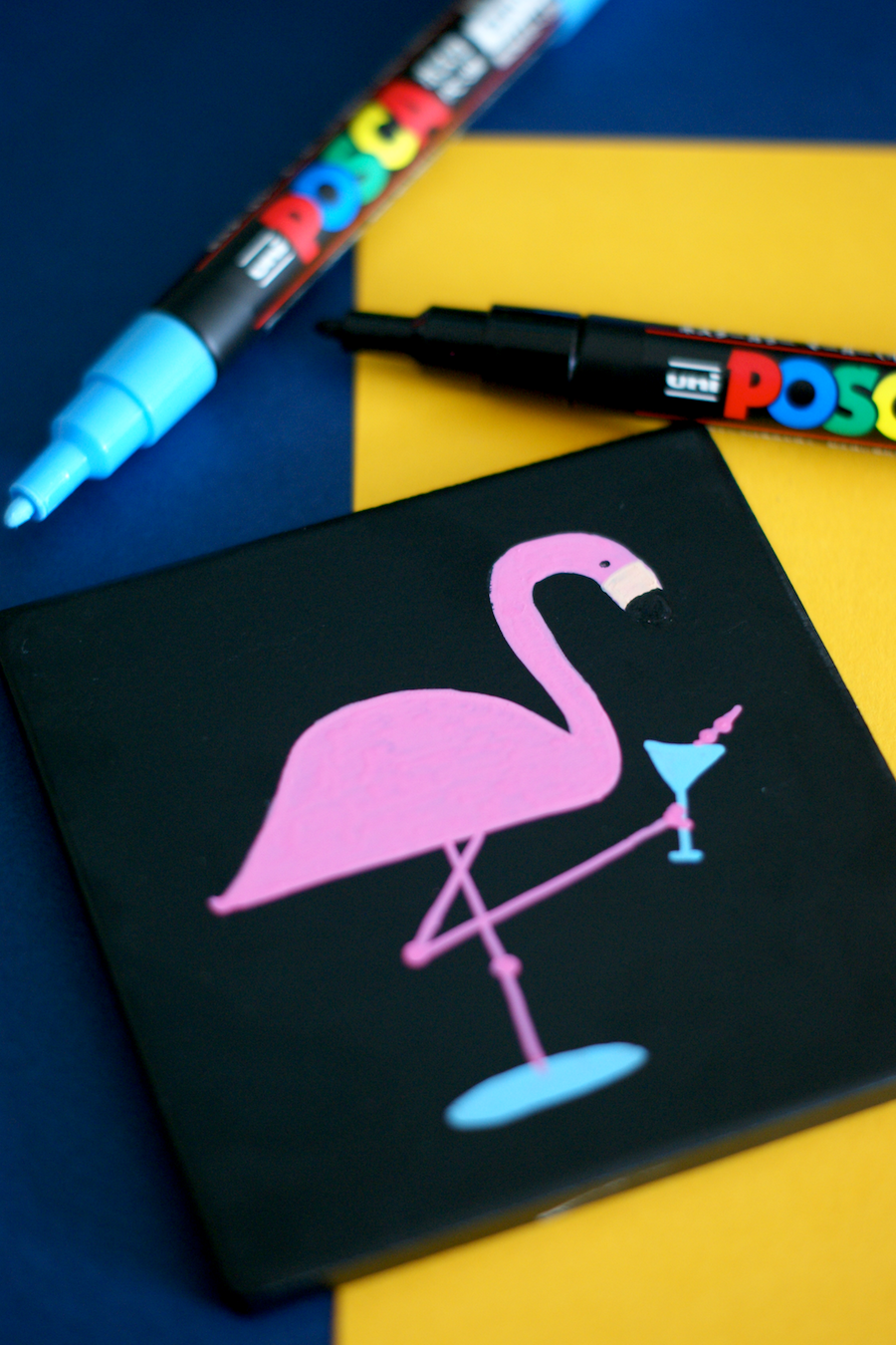 DIY Dapper Flamingo Cocktail Coasters