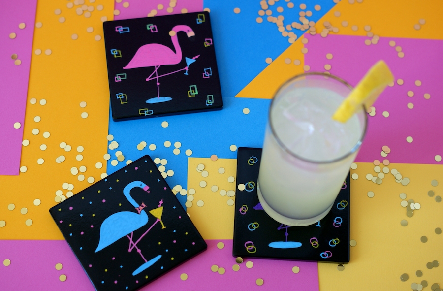 Crafting with Markers - DIY Dapper Flamingo Coasters