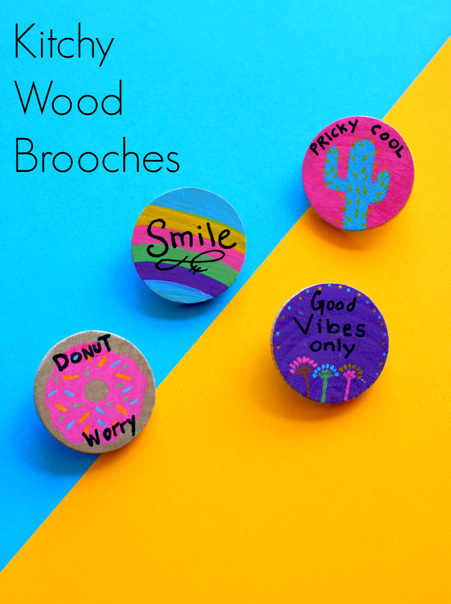 Crafting with Markers - DIY Kitchy Wood brooches