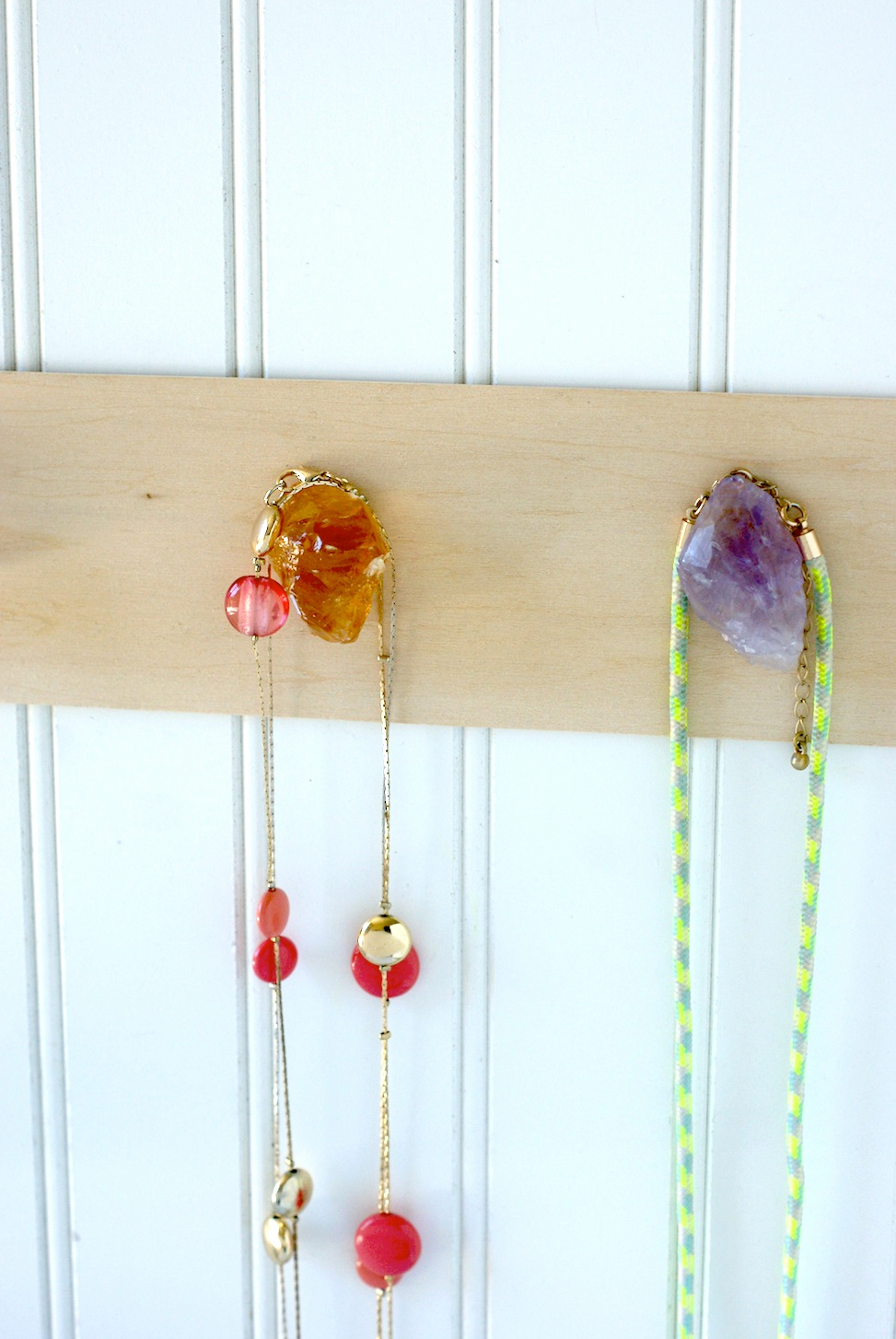 Hang your necklaces on this DIY Mineral Necklace Holder