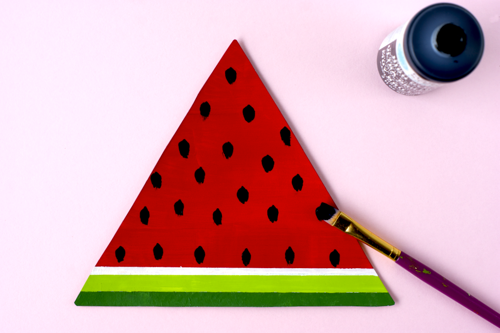 Hand Painted Watermelon Slice Wall Art Step 3