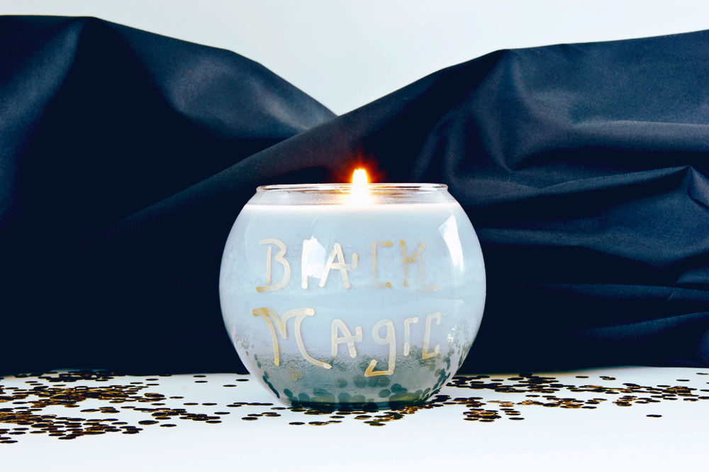 DIY Halloween Witch Candle - Sharpie spells onto the glass