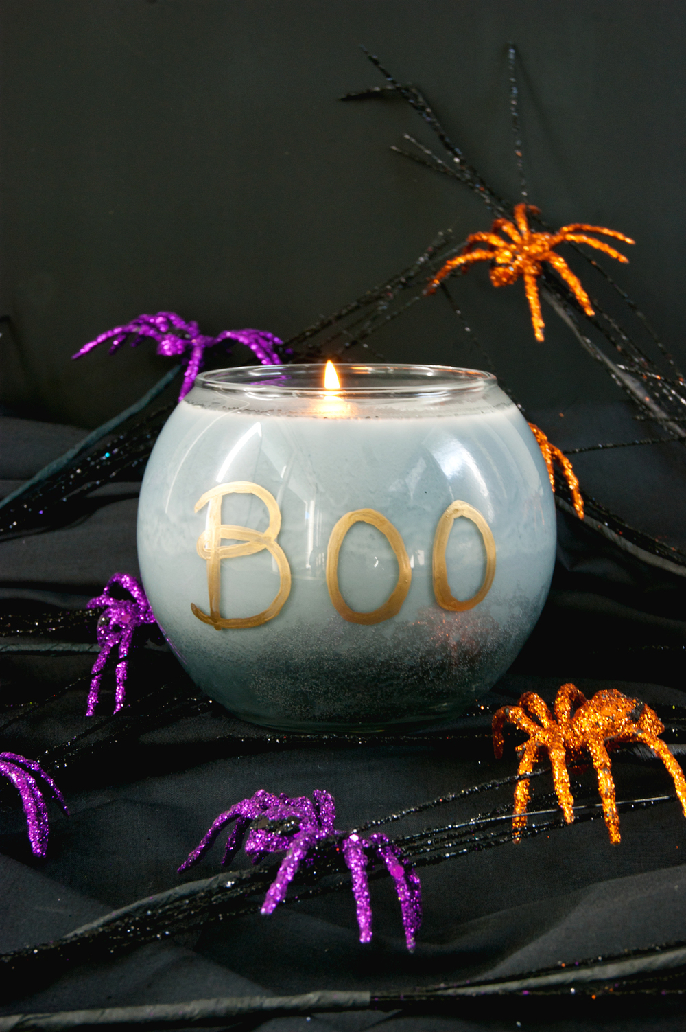 DIY Halloween Candle that burns black when lit.