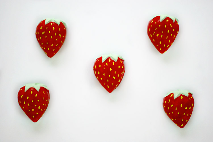 DIY Painted Strawberry Magnets for your summer time fridge
