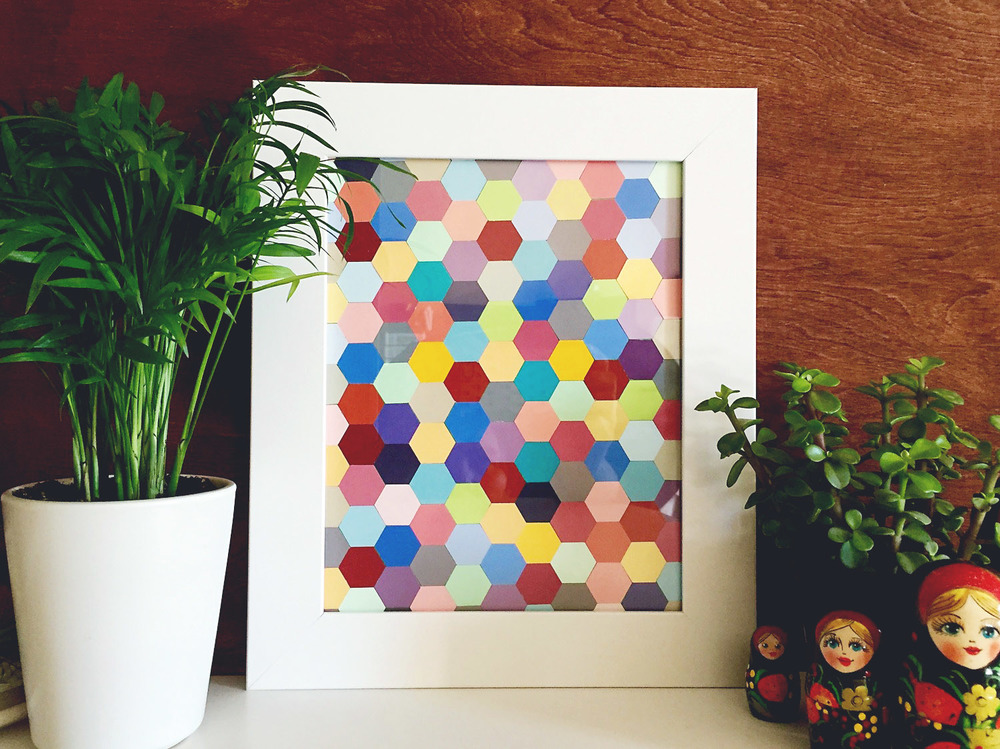 DIY Hexagon Framed Art
