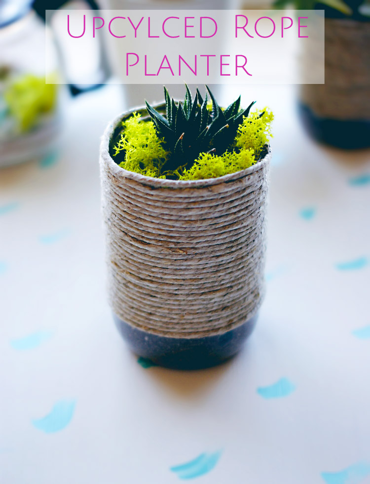 DIY upcycled rope planter with succulent by A Charming Project