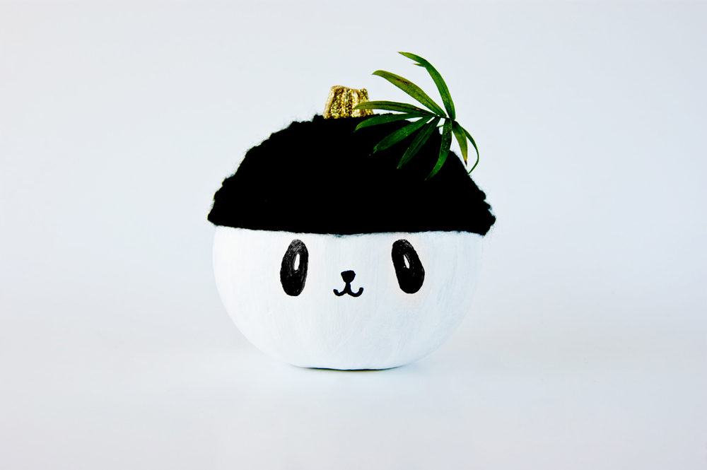 No carve Panda Pumpkin decoration
