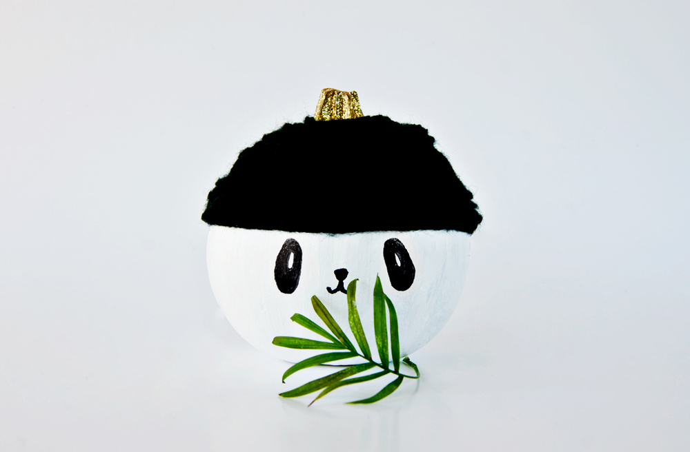DIY no carve panda pumpkin decoration
