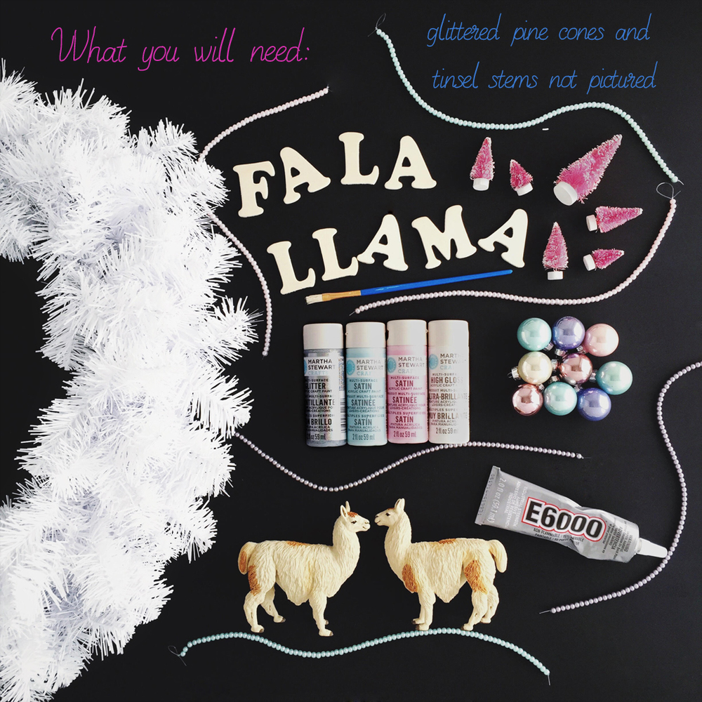 Deck the Halls with cheerful llamas! DIY Holiday Hipster Llama wreath materials