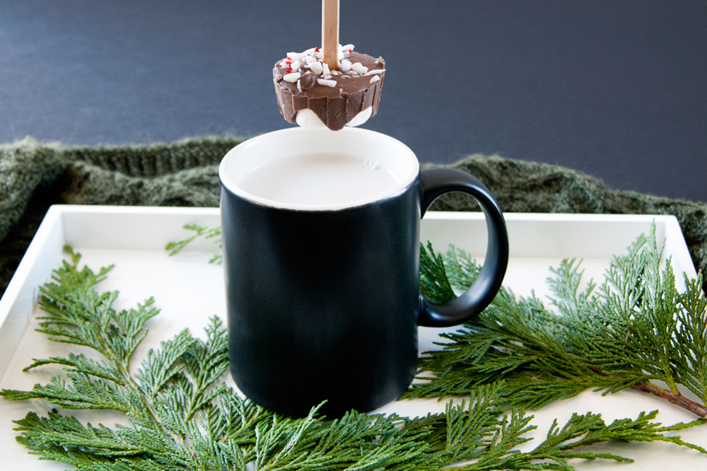 Make your own holiday hot chocolate stirrers