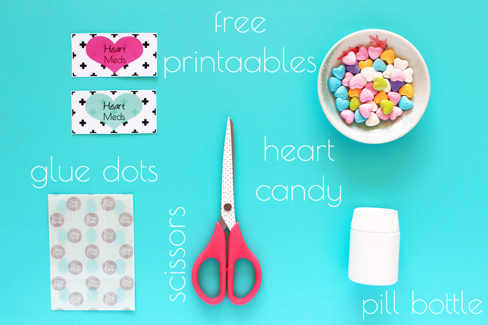 Free Printable! Make your own Valentine Heart Pill bottle