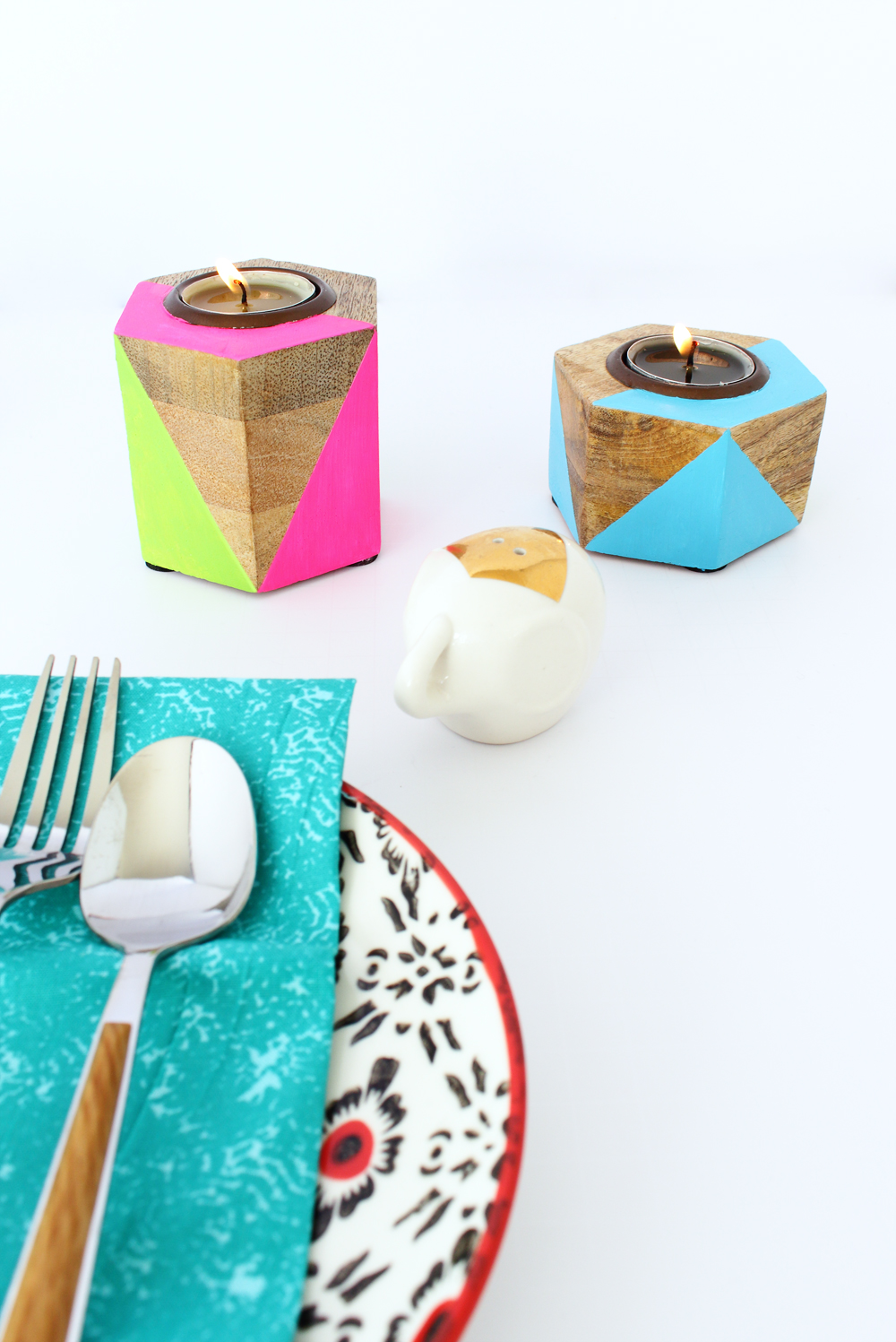 Neon Painted Geometric Candle Holders
