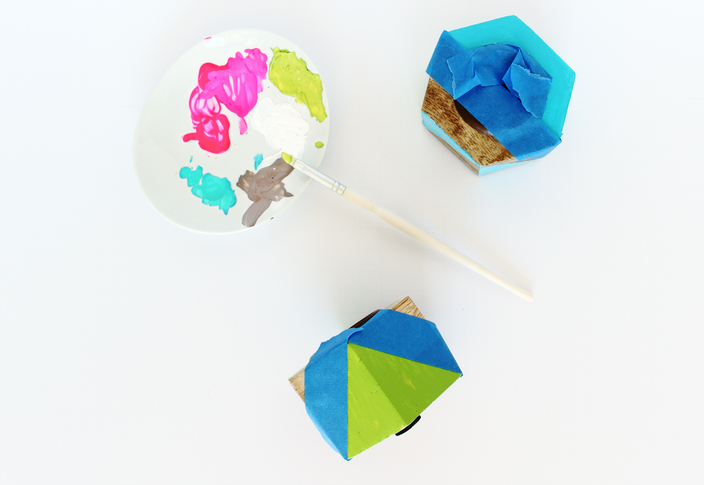 DIY painted geometric candle holders