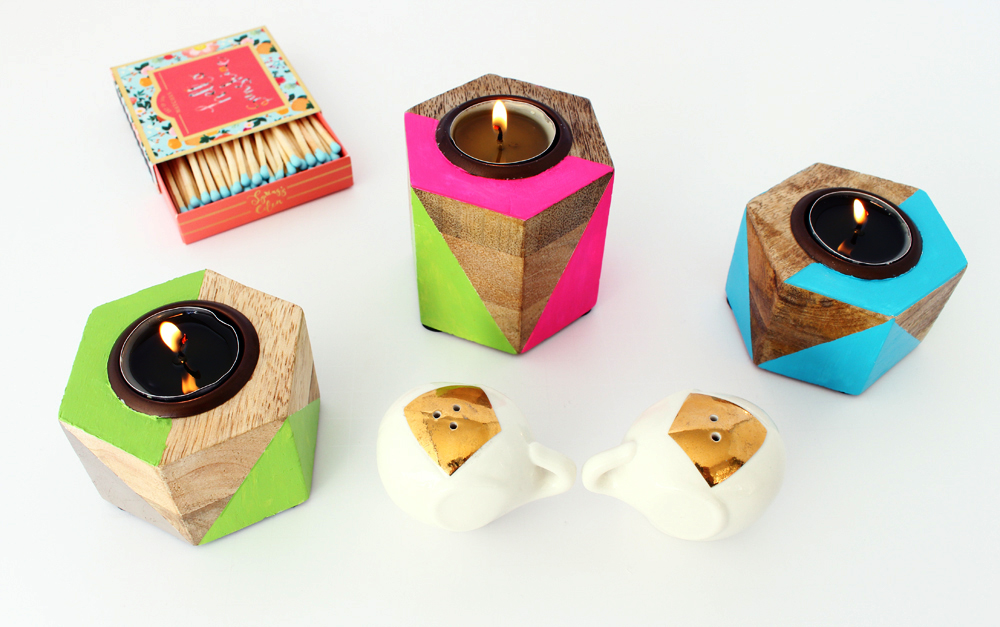 DIy Geometric Neon Painted Tealight Holders