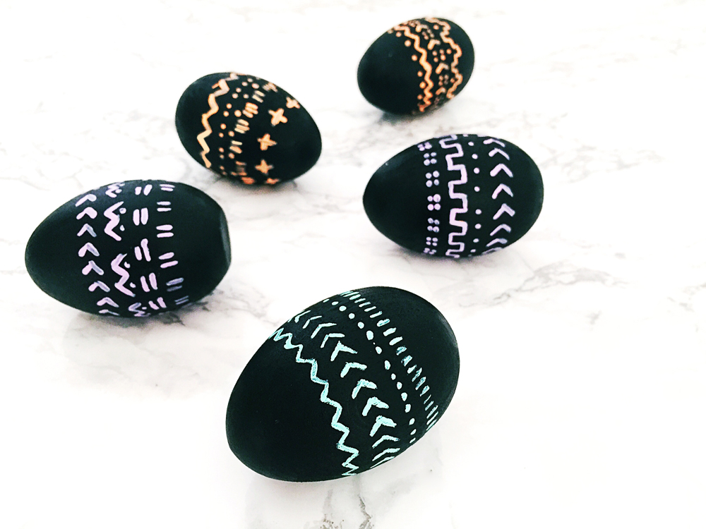 DIY Hand Painted Mud Cloth Easter Eggs