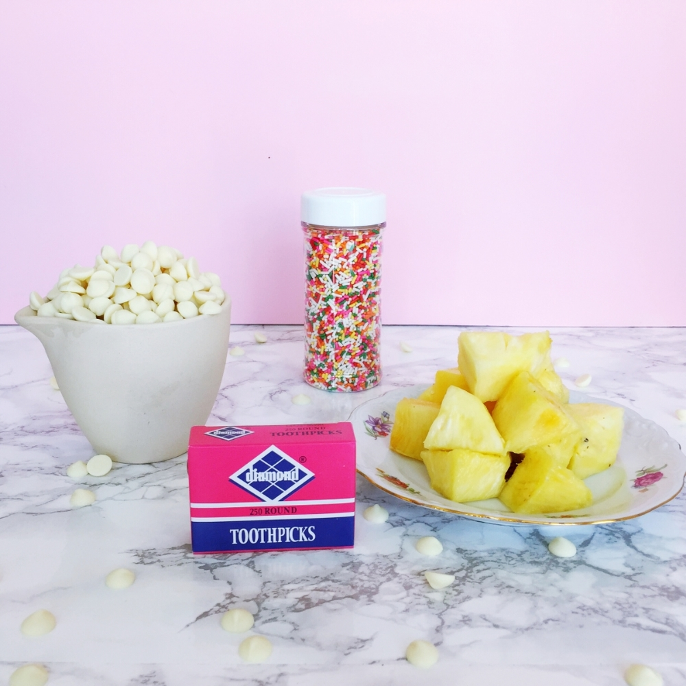 DIY White Chocolate Dipped Pineapple with Sprinkles for summer entertaining