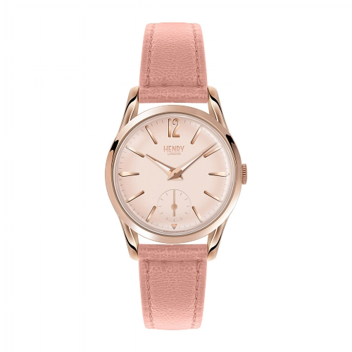 Shoreditch Pink Leather Strap Watch with Seconds Dial
