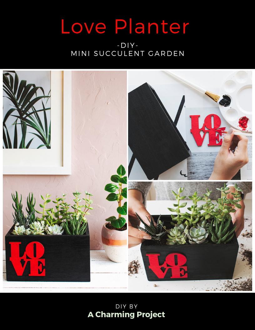 Love Planter via A Charming Project DIY Mini Succulent Planter