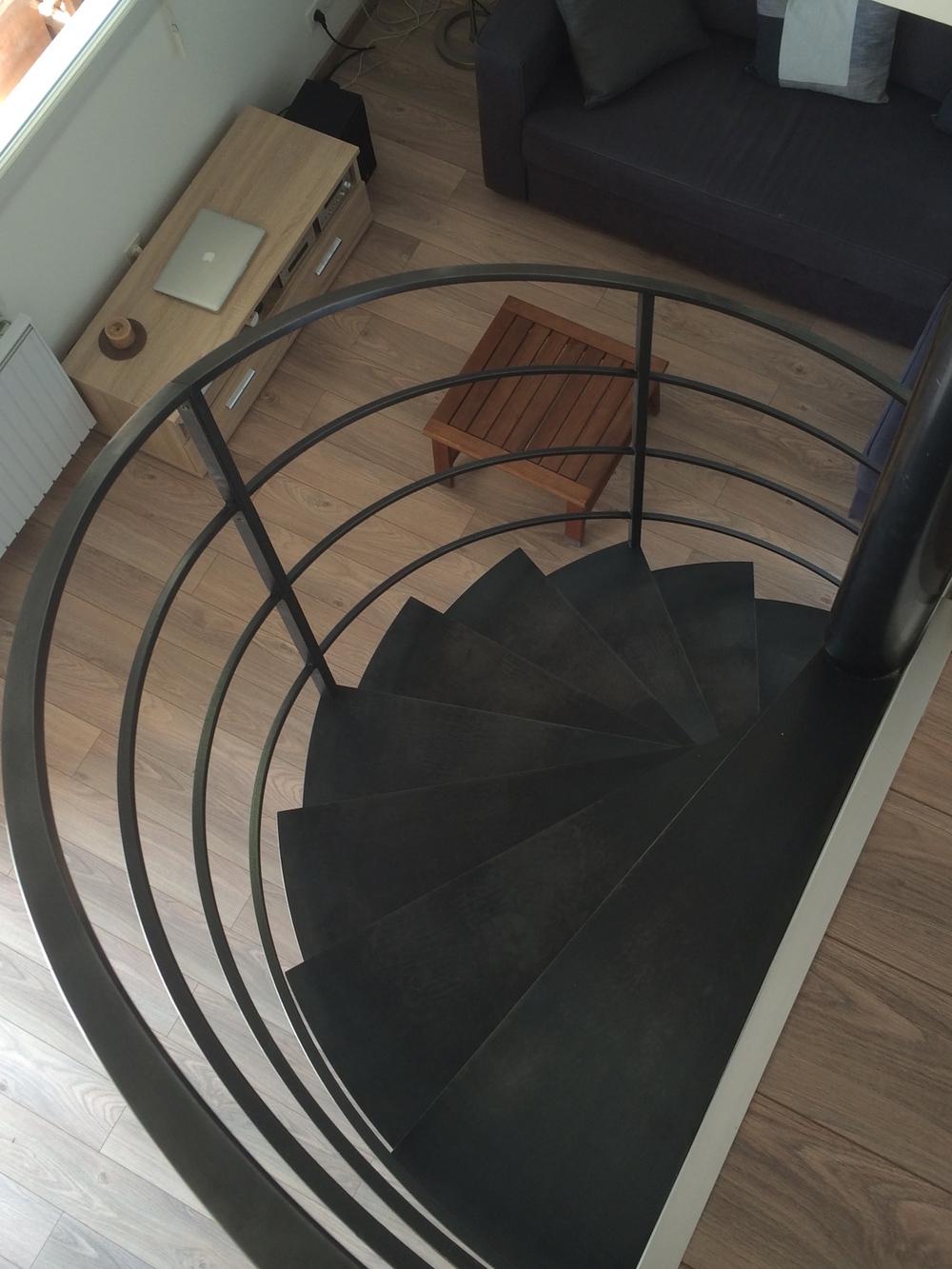 escalier colimaçon fer naturel