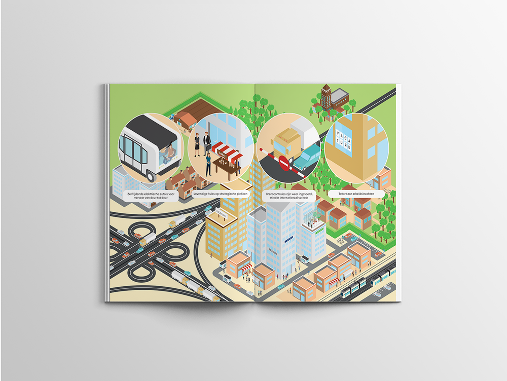 infographic spread isometric city landcape