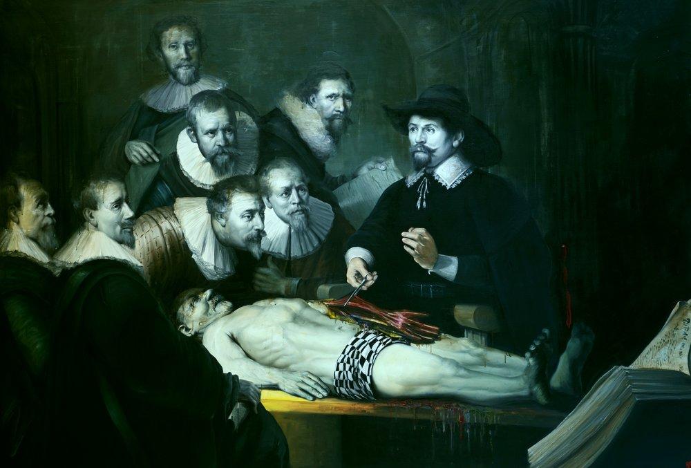 Hodina anatómie doktora Tulpa, olej na plátne, 140x200, 2015.JPG