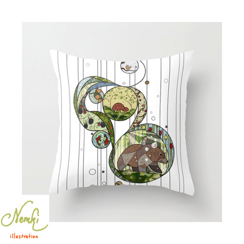 nemki  - Forest Illustrated Throw Pillow