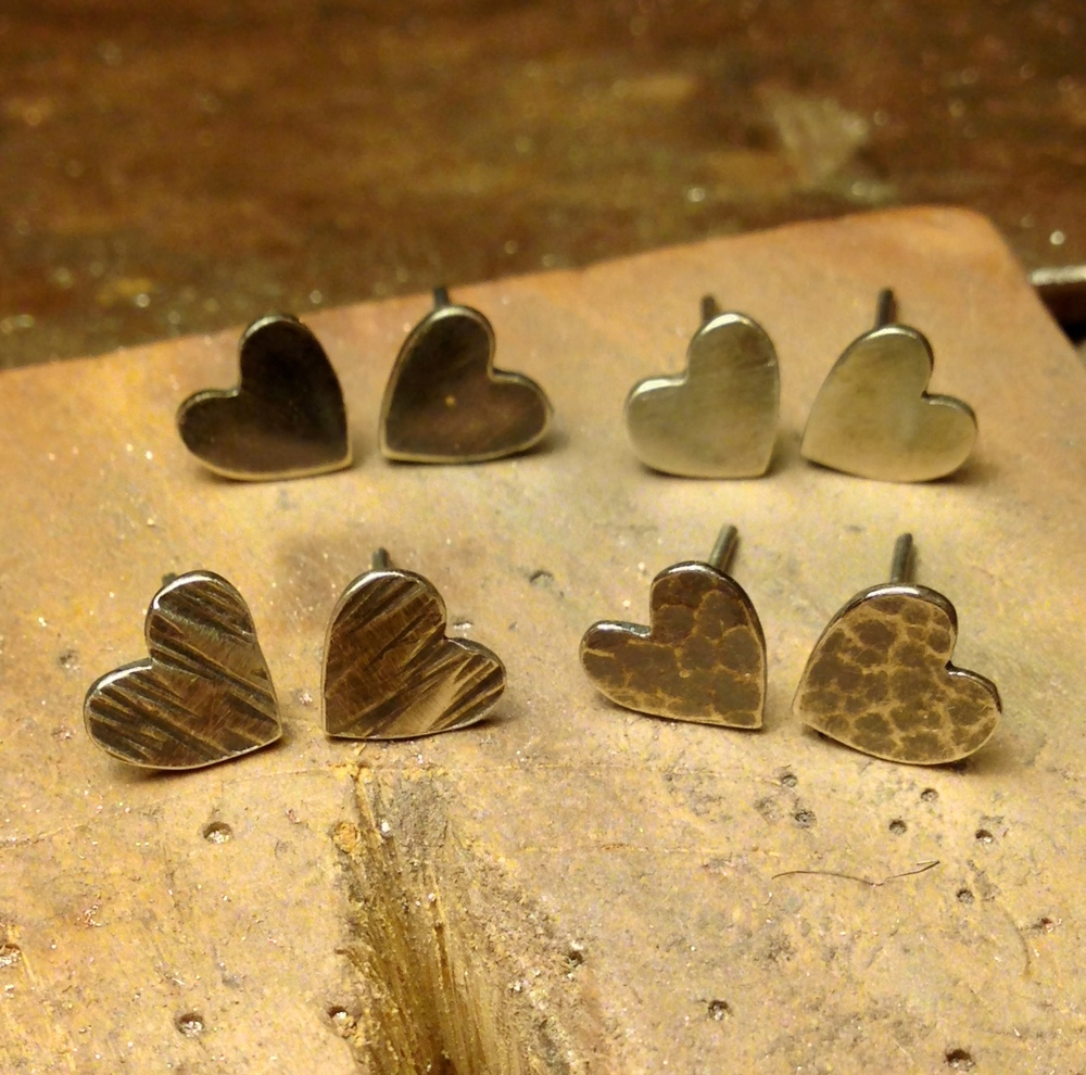 Oxidised silver heart earrings.