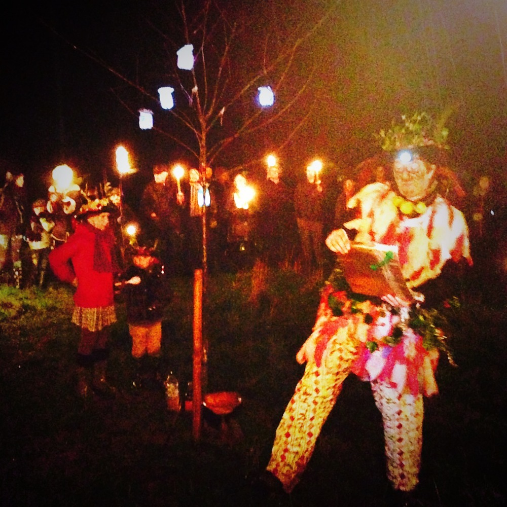 My photo of the Colwall Wassail - and the rain!