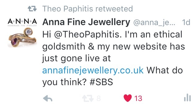 "My ""retweeted"" tweet to Theo Paphitis."