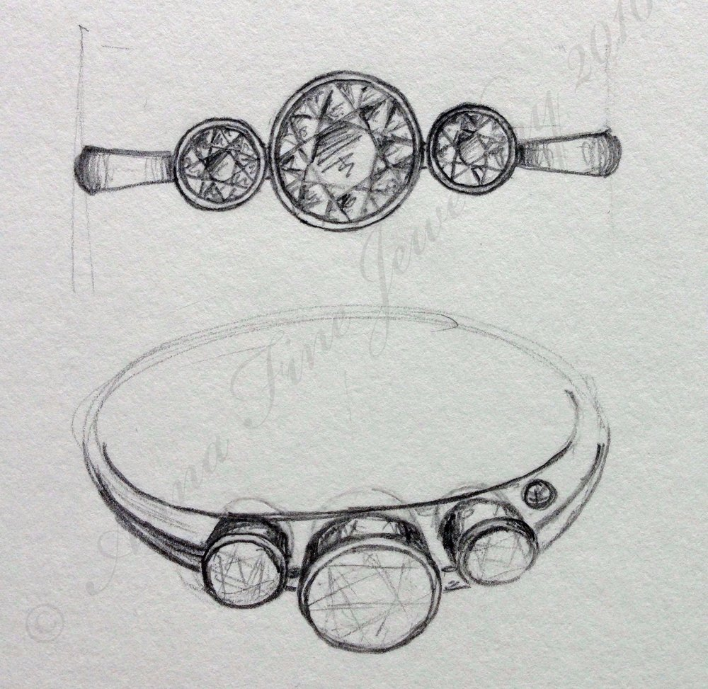"My original sketch. A bespoke version of my ""Something Blue"" ring available here in my Etsy shop."