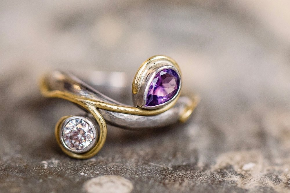 Palladium, 18ct yellow gold, lab grown diamond and amethyst.
