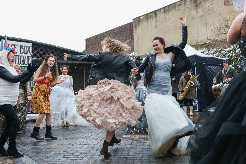 Dancing real brides and EWE models (in a blizzard!) Photo by Sharon Cooper Photography