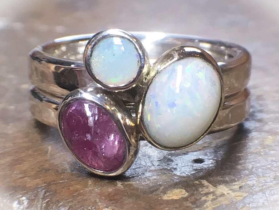 Opal and ruby stacking rings