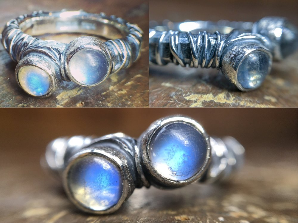 Moonstone recycled silver ring