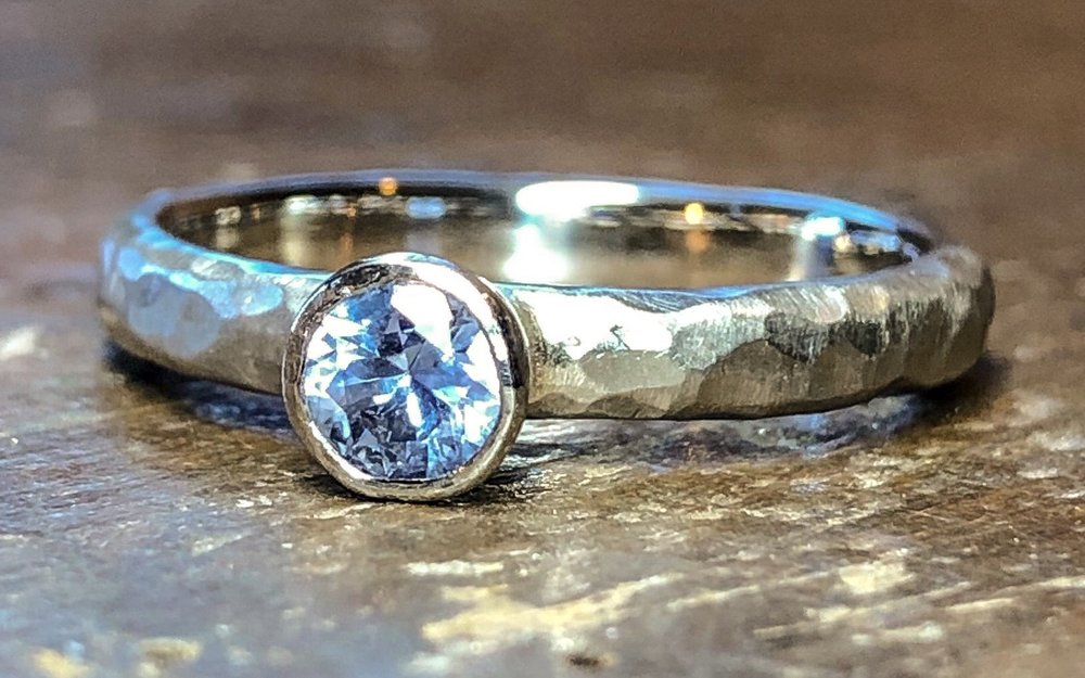 Platinum and sapphire engagement ring