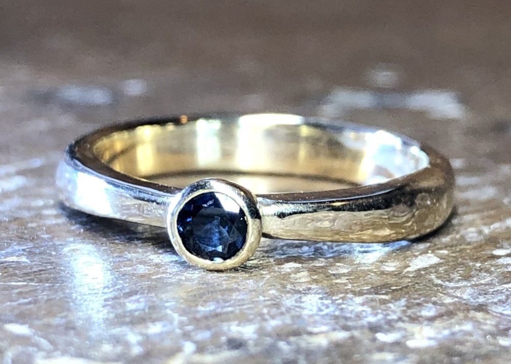 9ct yellow gold and recycled sapphire engagement ring