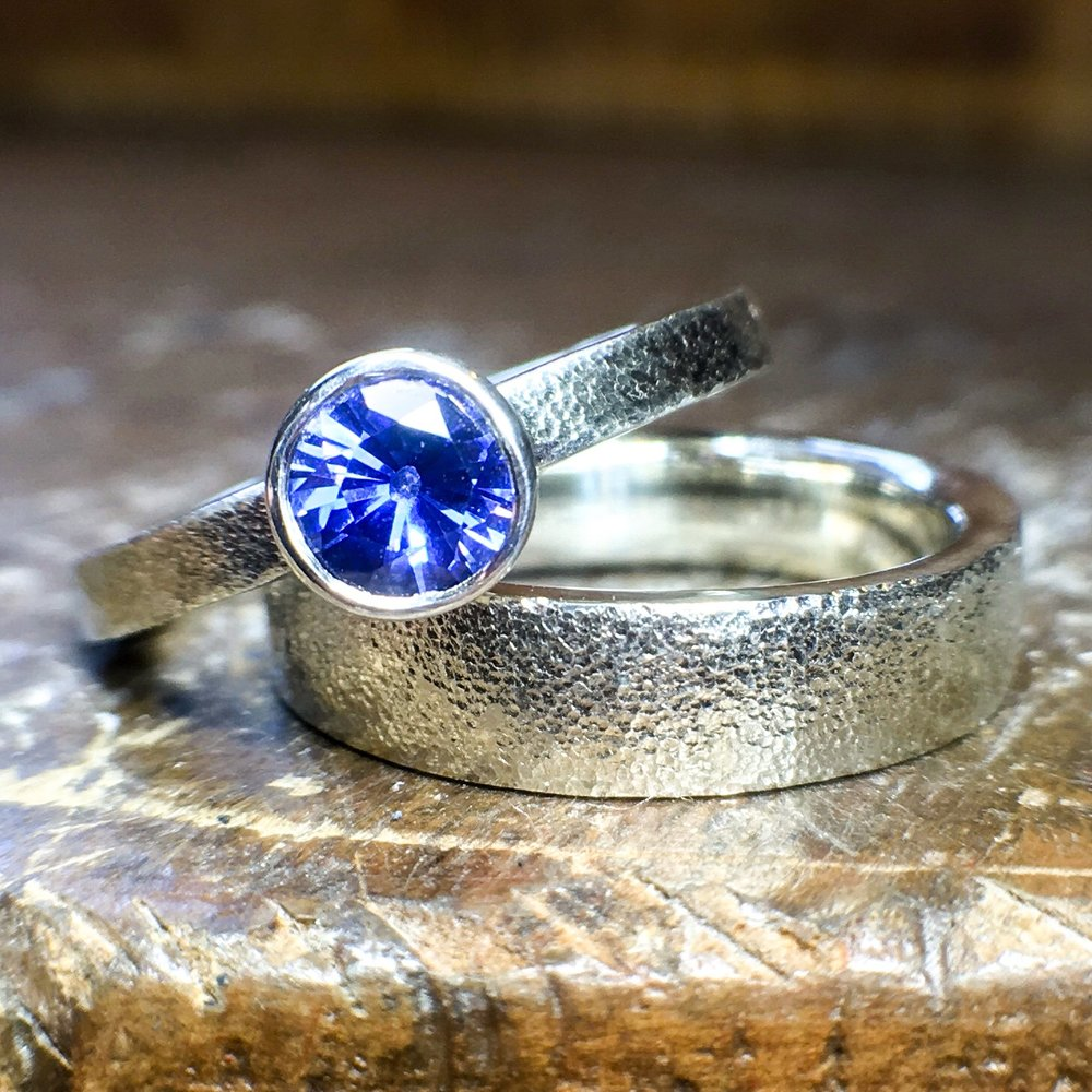 White gold and royal blue sapphire