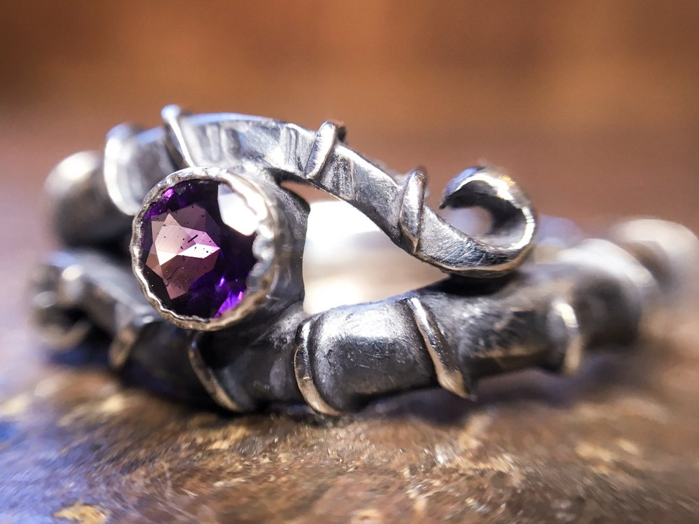 Eco-gothic amethyst engagement ring