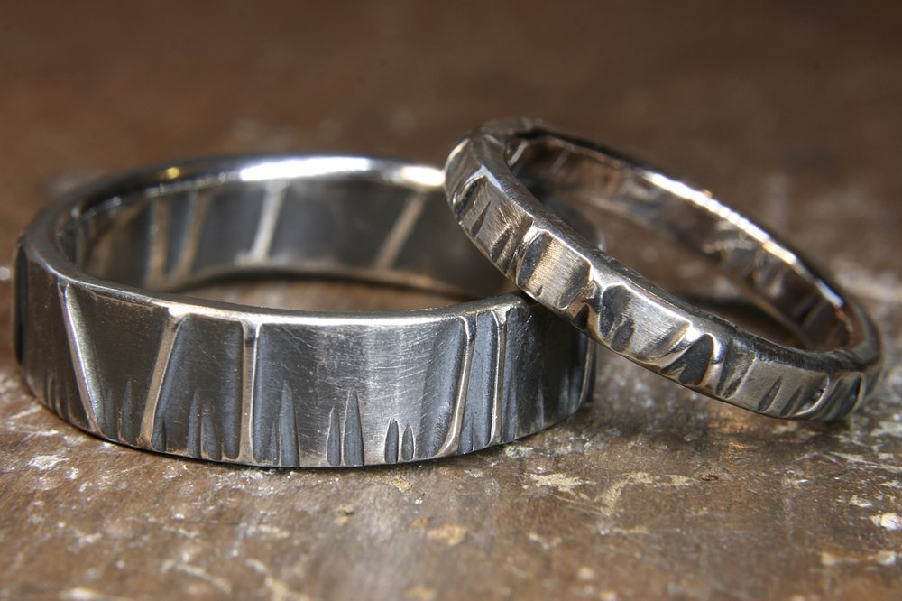 Eco-gothic recycled wedding rings