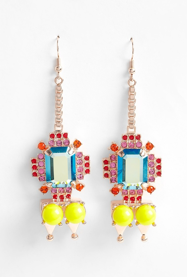 wgsn: Mawi pyramid and gem stone earrings. They make pink, red and neon yellow look like they are a match made in  heaven.