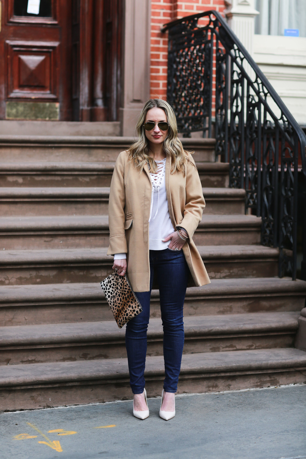 topshop camel coat and lace up sweater