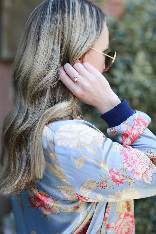 Floral Zara Bomber,Pandora ring