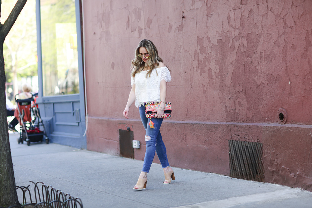 cupcakes and cashmere off the shoulder top